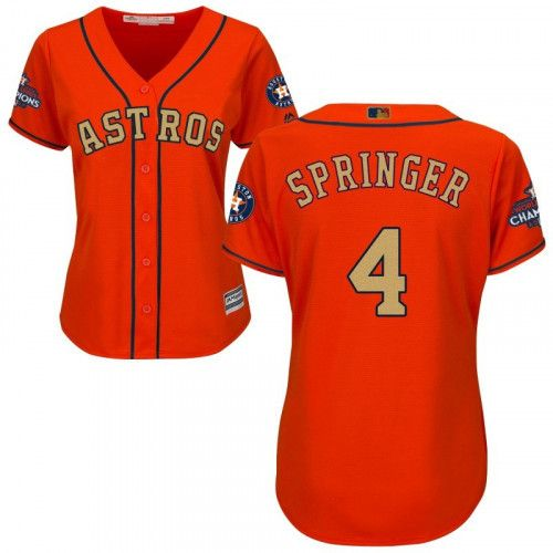 uk availability 7e6e1 6ed0e Women Houston Astros Champions Gold #4 George Springer ...