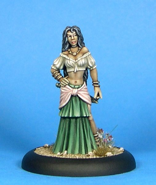 - 35mm to the top of her head- Miniature supplied unpainted- Comes with a 25mm base