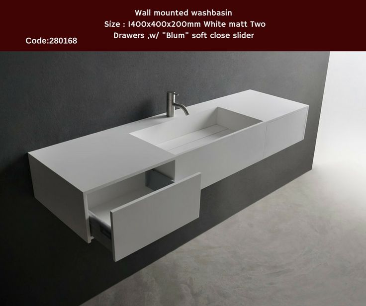 "Solidpure Wall mounted washbasin Size:1400x400x200 mm White mattTwo Drawers ,w/ ""Blum"" soft close slider"