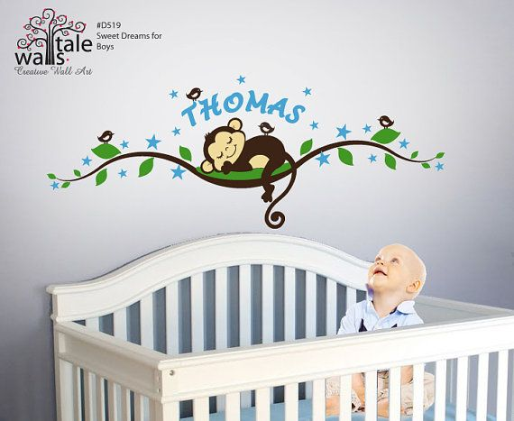 Boy Monkey wall decal with stars tree branch with name,birds for nursery, kids room. on Etsy, $59.00