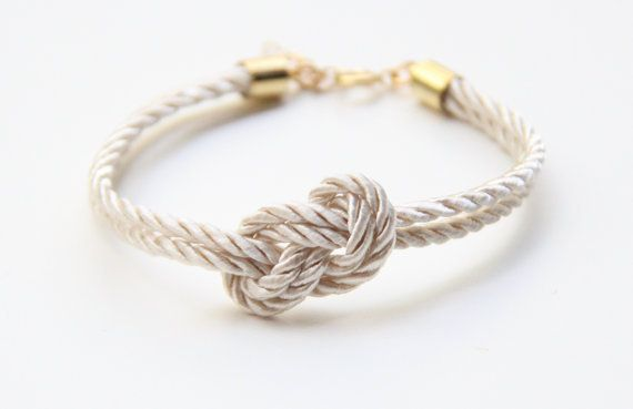 Perfect bridesmaid gift - small white silk Knot bracelet since they helped you tie the knot.