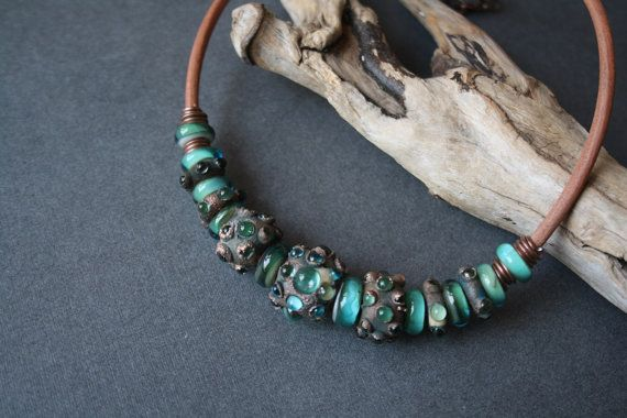 Necklace. Turquoise DragonGlass beads. Glass от LikeAGlassShop