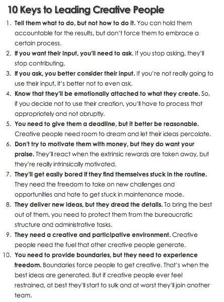 10 keys to leading #creative people
