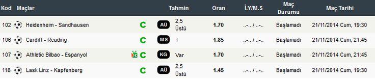107 - Athletic Bilbao - Espanyol @ KGvar 1.7 106 - Cardiff City - Reading @ 1 1.85 102 - Heidenheim 1846 - Sandhausen @ üst 1.7 118 - LASK Linz - Kapfenberger SV @ üst 1.45