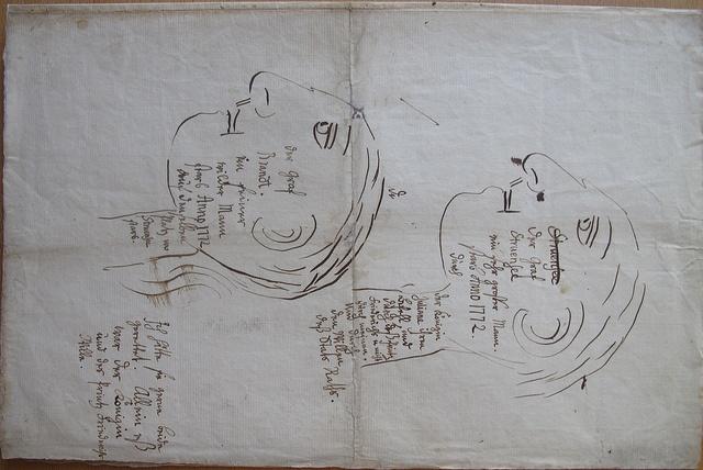 Christian VIIs tegning af Struensee og Brandt, 1770erne. (Rigsarkivet)    Drawing of Struensee and Brandt made by the King Christian VII, 1770s. (National Archives)