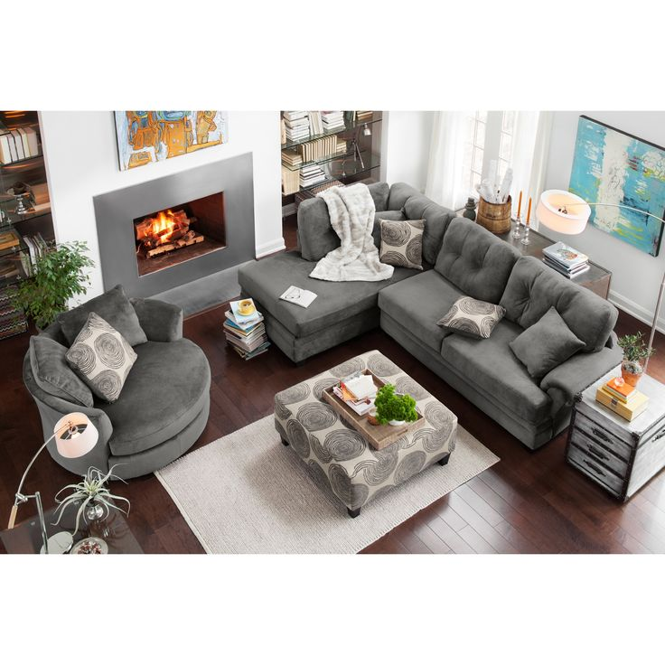 Living Room Furniture   Cordelle 2 Piece Left Facing Chaise Sectional And  Swivel Chair Set   Gray | Home Decor | Pinterest | Swivel Chair, ...