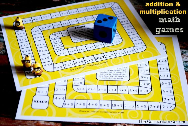 Addition & Multiplication Math Board Games FREE from The Curriculum Corner