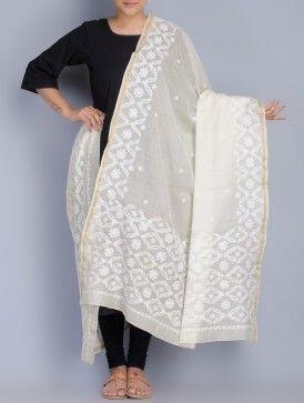 Ivory Chikankari Embroidered Silk Cotton Maheshwari Dupatta By Malavika