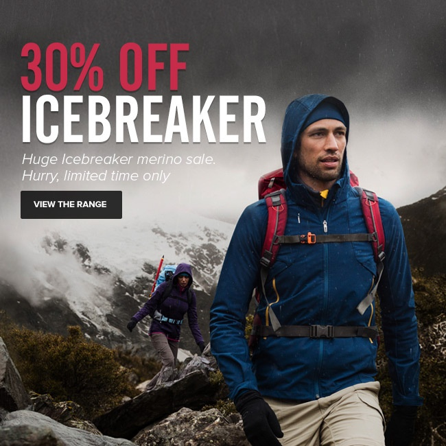 30% OFF ALL Icebreaker gear UNTIL MIDNIGHT TUESDAY THE 25th. Hurry, limited time only. http://www.mainpeak.com.au/brands/icebreaker/ FINISHED!