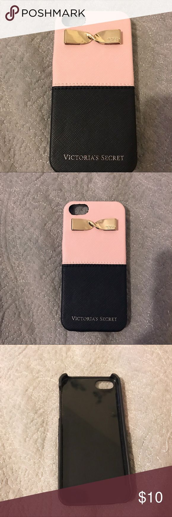 Victoria's Secret iphone case Victoria's Secret iphone 5s/5 case.  Hard case in light pink and black with a gold bow. Case feels like a cushion.  Great condition and protective of you phone.  I accept offers! Victoria's Secret Accessories Phone Cases
