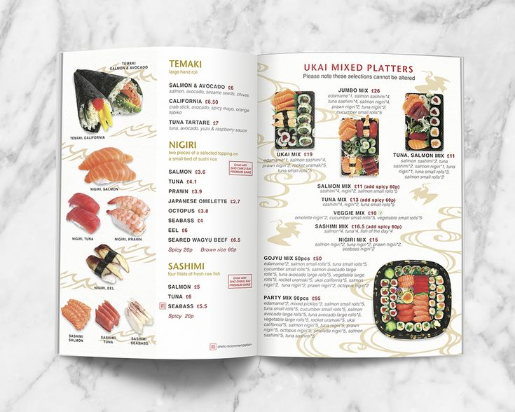 Japanese themed Takeaway Menu Design for UKAI Gastropub. Sushi and platters page.