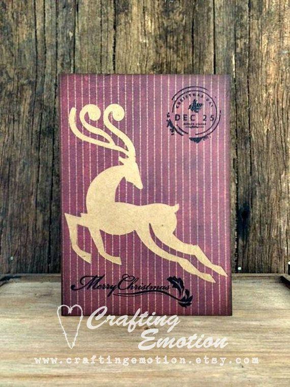 Handmade Christmas Greeting Card Reindeer by CraftingEmotion