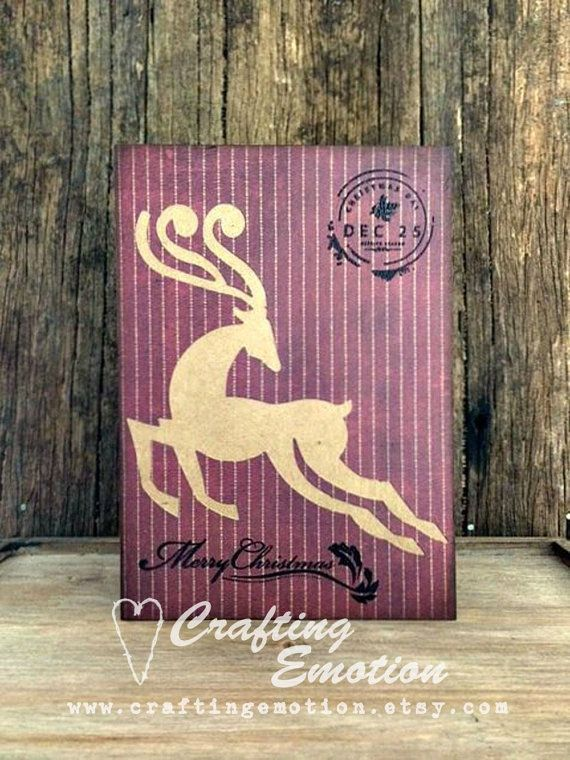 Handmade Christmas Greeting Card Reindeer by CraftingEmotion