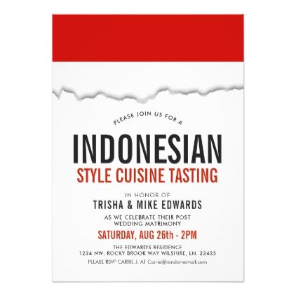 Indonesian Cuisine | Party Flag White Invite - birthday gifts party celebration custom gift ideas diy