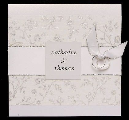 Wedding Invitation With Glitter Paper, Ribbon and Tied Rings - www.kardella.com