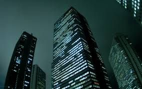 City building (work) at night