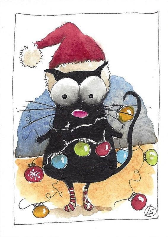 ACEO Original watercolor painting whimsical black cat Christmas lights tangled #IllustrationArt