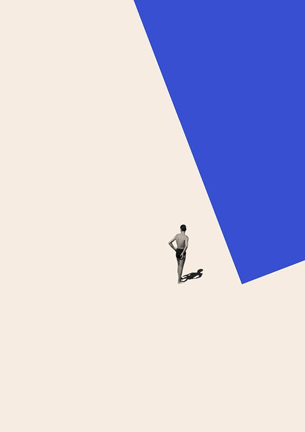 很有意境的一張圖,利用的對比跟孤立讓畫面中的人突出,應該是在描繪一個游泳選手的畫面。#collage