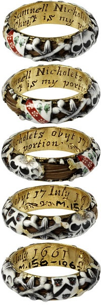 Mourning ring | V Search the Collections (England, 1661, enamelled gold with hair ornament)
