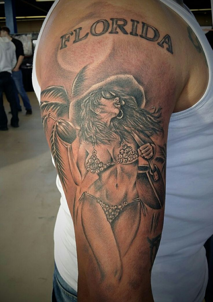 Florida realistic pin-up tattoo