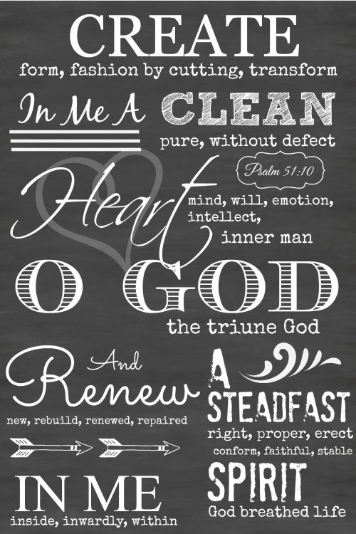 Create in me a clean heart, O God and renew a steadfast spirit in me. Psalm 51:10 chalkboard art that includes the Hebrew meaning of each word to get a deeper sense of what this Psalm says.