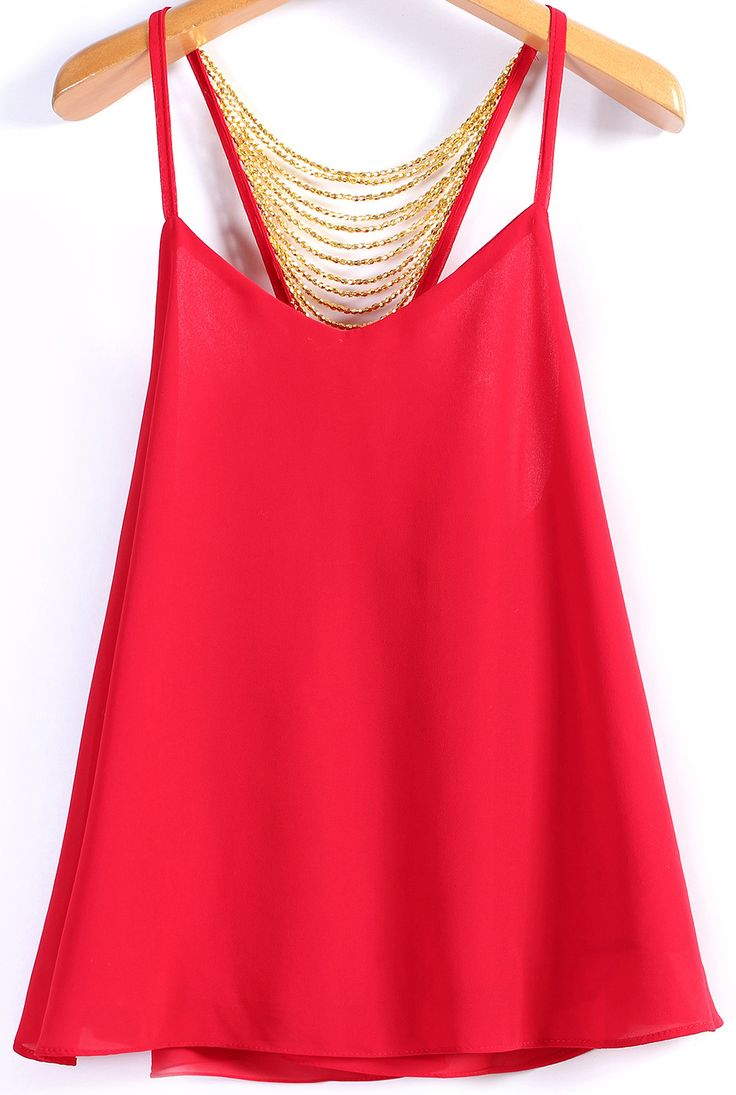 Spaghetti Strap Bead Decoration Chiffon Red Vest