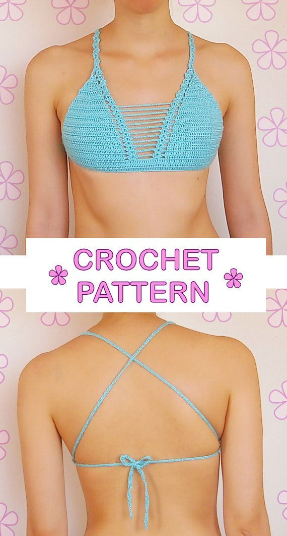 Triangle crochet bikini top with thin see-through straps at the center // The…