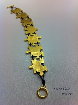 """Puzzles"" Bracelet made of gold plated silver by www.pemeladesign.com"