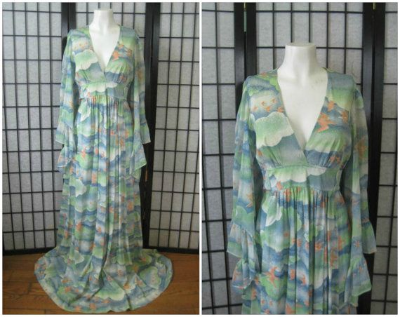 Vintage 1970s Gown Maxi Dress Long Frock Angel Wings by girlgal6