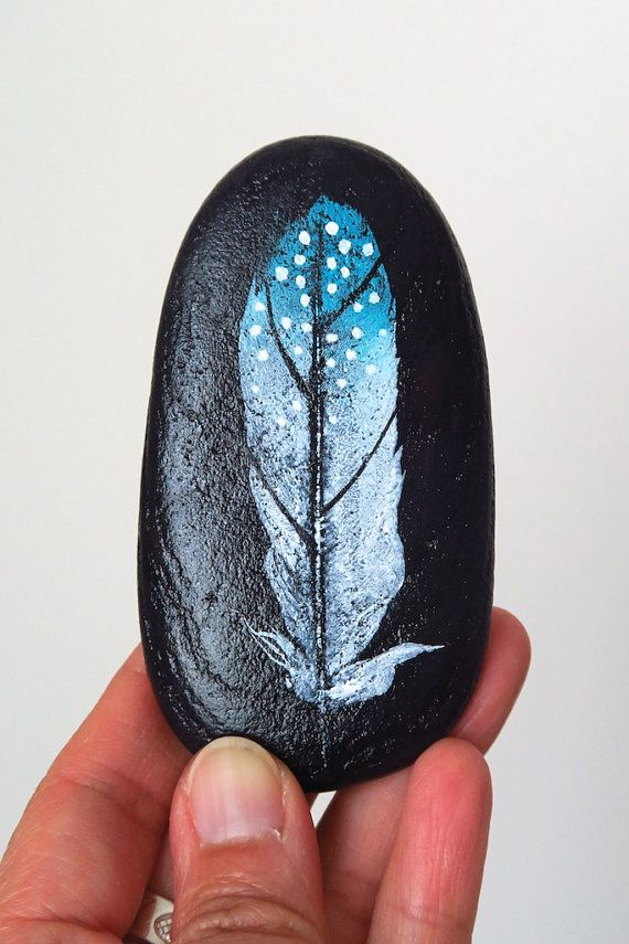 Dotted Feather Rock Art, Painted Beach Stone, Hand Painted Rock, Paper Weight…