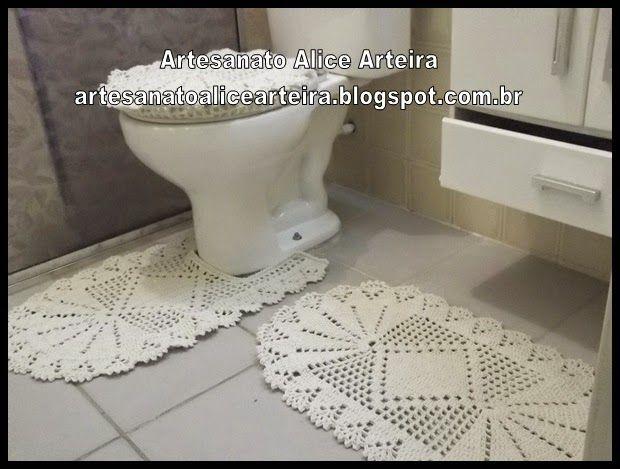 """Artesanato """"A Arteira Artesanatos"""": Jogo de banheiro de crochê"""