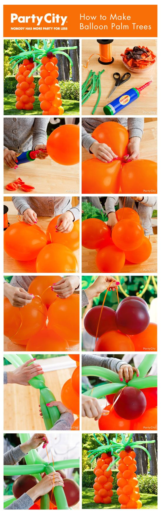 How to make balloon palm trees - easy pictorial tutorial!