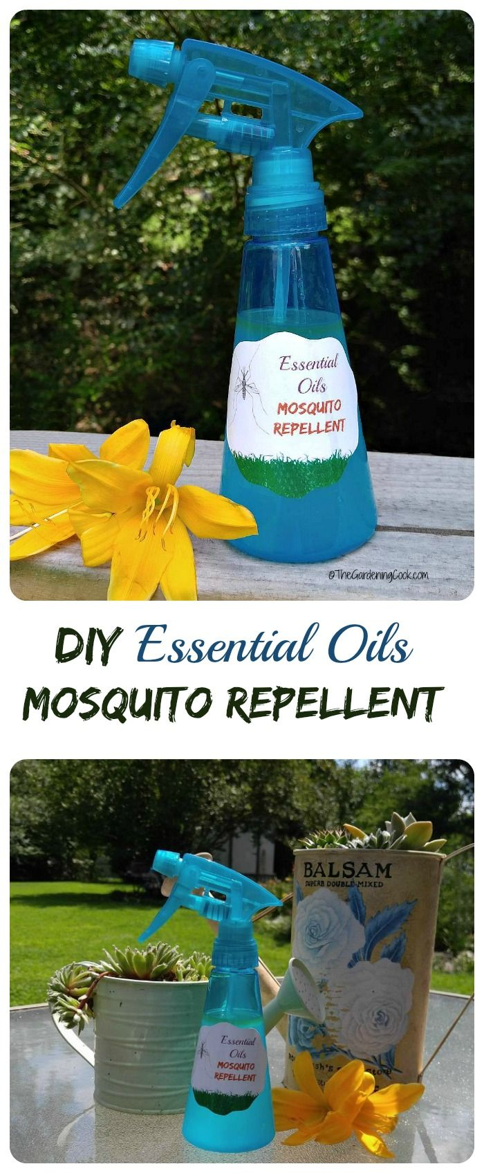 This effective DIY mosquito repellent spray uses essential oils-- includes FREE PRINTABLE for bottle labels and options for flea and tick spray too!! thegardeningcook.com  #StimulateTheSenses #ad