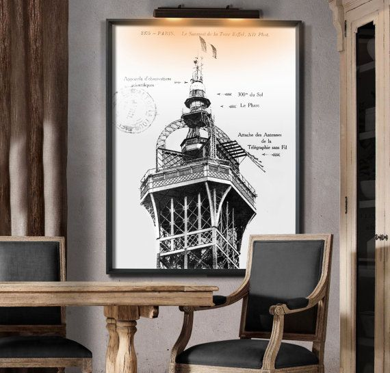 1912 Eiffel Tower Summit Print. Similar to Restoration Hardwareu0027s print but not affiliated with or & 218 best Custom Vintage Map Prints u0026 More images on Pinterest ... azcodes.com