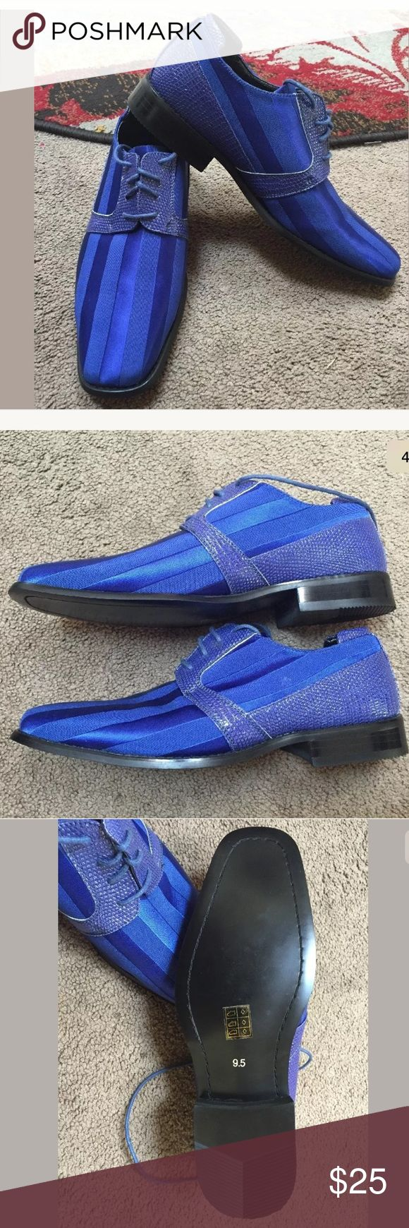 🔵Silk royal blue shoes NEW!🔵 New! Viotti silk mens royal blue dress shoes  Size: 9.5.  Please zoom in on the pictures!  Smoke and pet free house Shoes Oxfords & Derbys