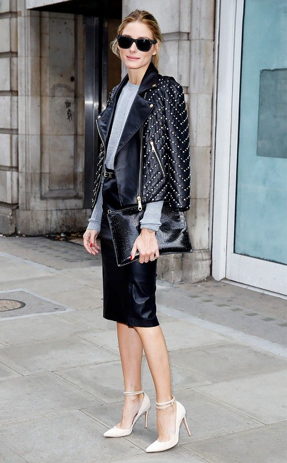 Olivia Palermo presents extra flair in her moto jacket with embellished pearls. // #Celebrity