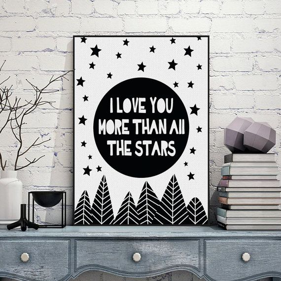 Freeshipping Black White Minimalist Typography Stars Love Quotes A4 Art Print Poster Living Room Wall Art Canvas Painting Home Decor by PicSaying