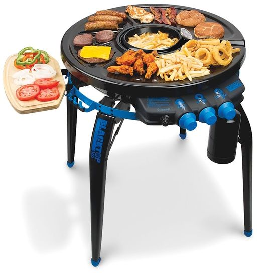 The Deep Frying Portable Grill - tailgating or camping dream! We need this