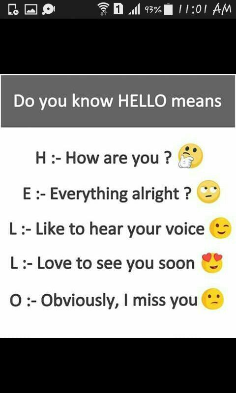 Hello means....