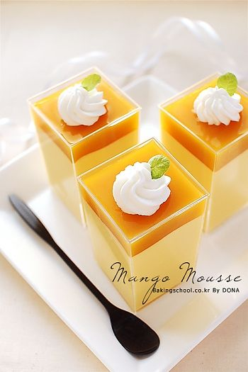망고무스(Dessert Cup Style) Mango pudding, partially pinned because the Google translation is hilarious.