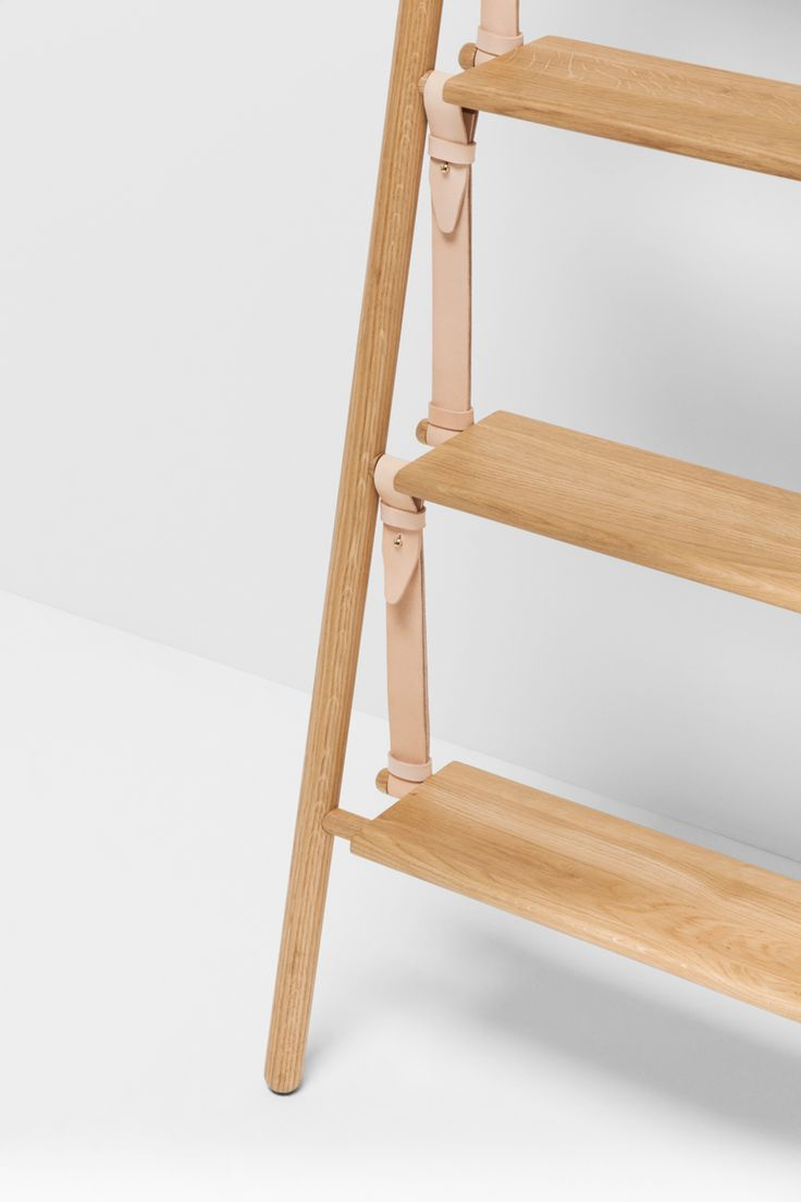 Belt Series - Belt ladder in Oak and light brown leather belts designed by Jessica Nebel   http://www.hfurniture.co/product_collection/belt-series/