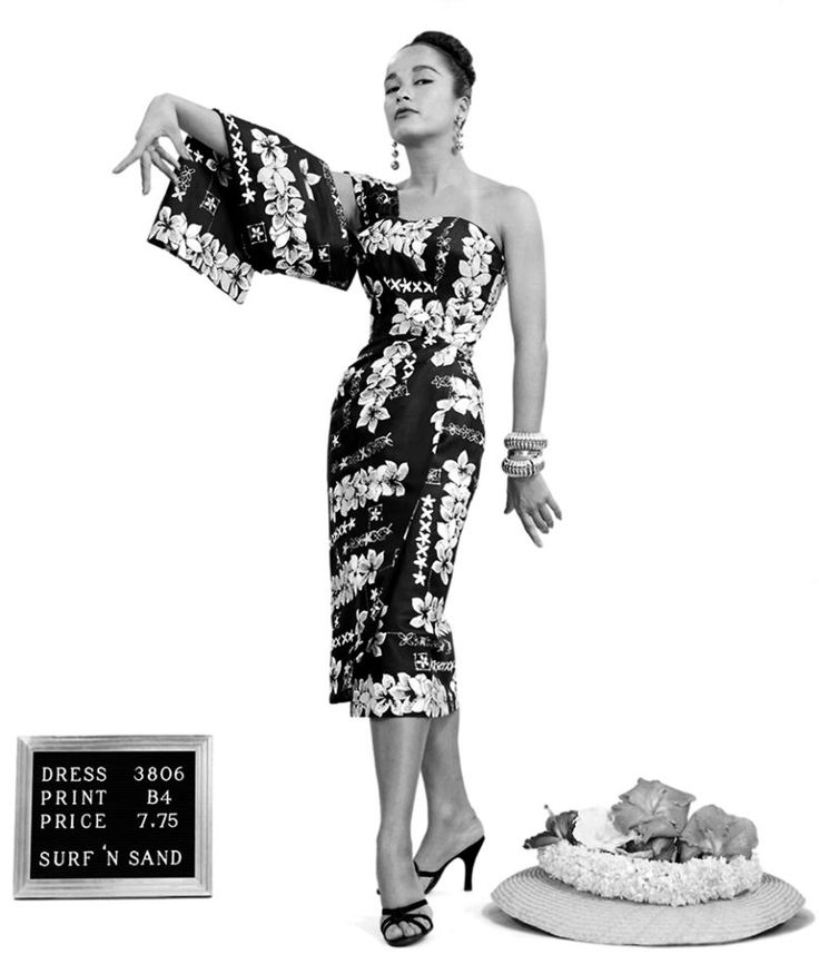"""""""The Secret History of Hawaiian Prints""""                                     Model Beverly Noah in a Saheen """"Surf and Sand"""" wholesale vintage catalogue, 1956."""