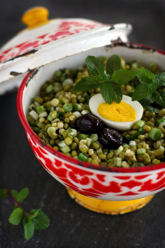 Turkish Piyaz, mung bean salad, enjoy!