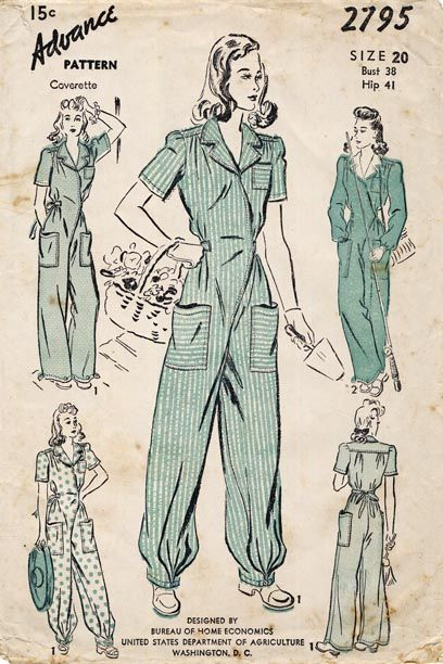 WWII jumpsuits - worn by women as factory workers, mechanics, and any other type of job where you needed hard wearing work clothes.