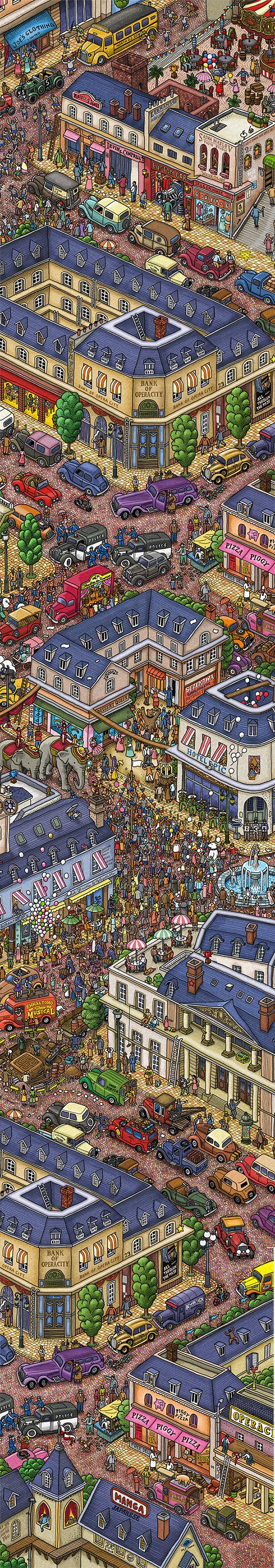 """""""The Town Makes Merry"""" by IC4DESIGN We made a vertically long illustration utilize Our site character, with fit to the Web browser. (Source : Pierre The MAZE DETECTIVE)"""