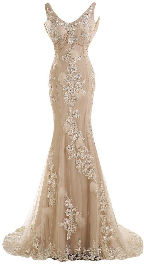 Sunvary Gorgeous Champagne Mermaid Wedding Dresses for Bride Lace and Chiffon Prom Evening Gowns US Size 2- Champagne