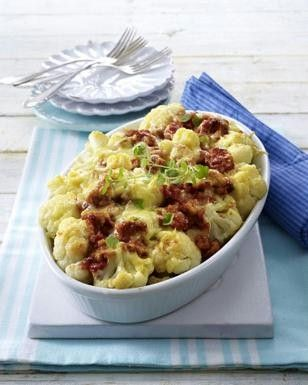 LECKER: Blumenkohl-Kartoffel-Auflauf auf Puten-Bolognese