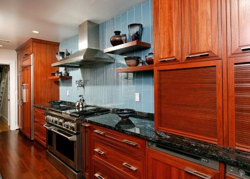 blue kitchen walls cherry cabinets  Beautiful Kitchen Cabinets We