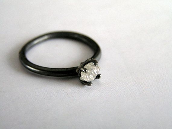 Brut diamant bague de fiançailles bague en diamant par Entinalane