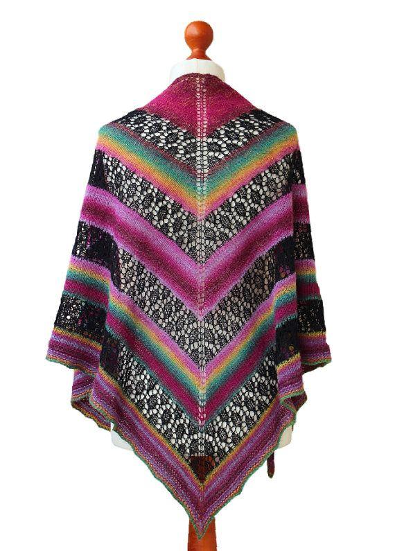 handknit triangle shawl striped shawl black lace pink by OlaKnits